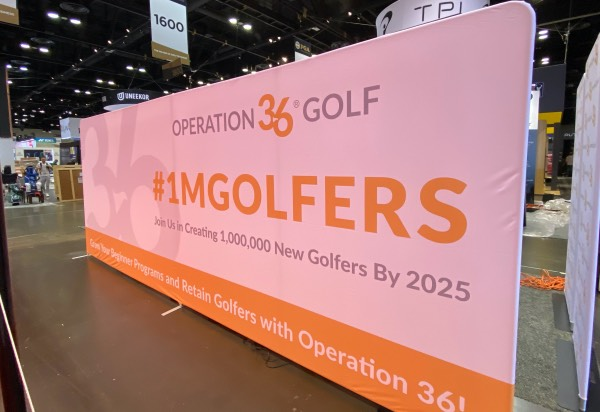 Op 36 banner at the 2019 PGA Show