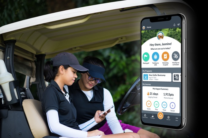 Op 36 family using the Op 36 app while playing golf