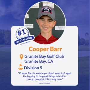 #1inaMillion Golfer Cooper Barr instagram post
