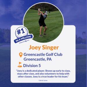 #1inaMillion Golfer Joey Singer Instagram Post