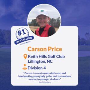 #1inaMillion Golfer Carson Price social media post
