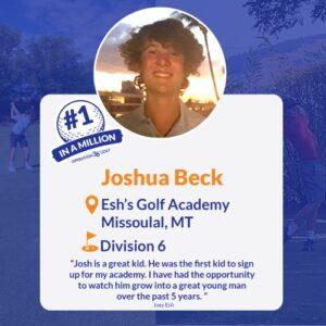 #1inaMillion Golfer Joshua Beck social media post