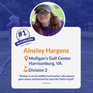 #1inaMillion Golfer Ainsley Hargens social media post