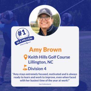 #1inaMillion Golfer Amy Brown social media post